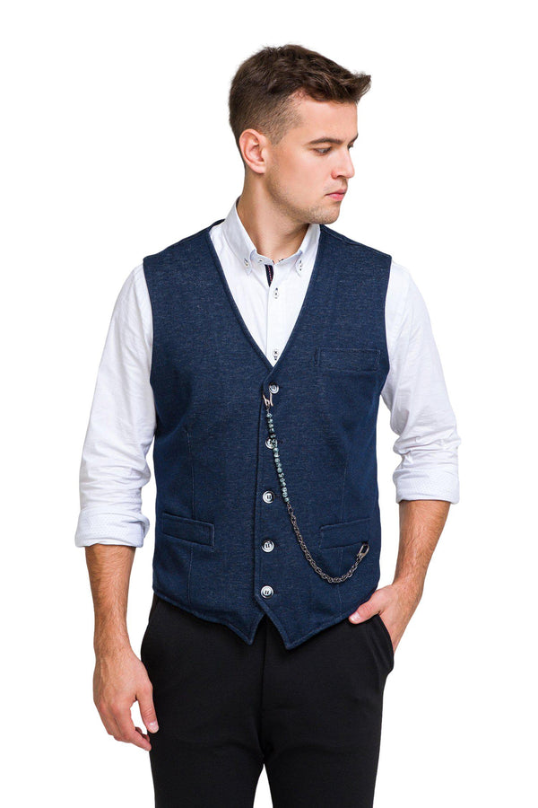 Luther Chain Detail Vest - Navy