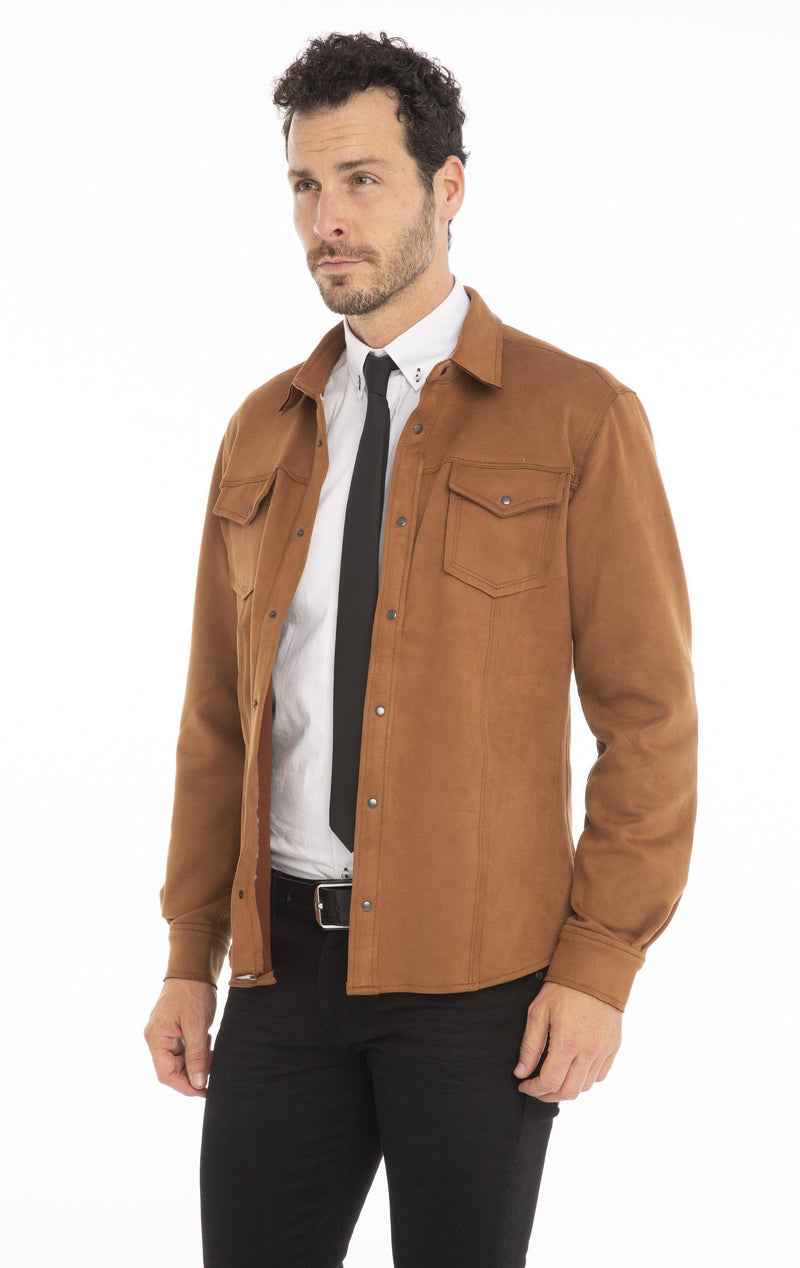 Lux Suede Finish Shirt - Camel - Ron Tomson