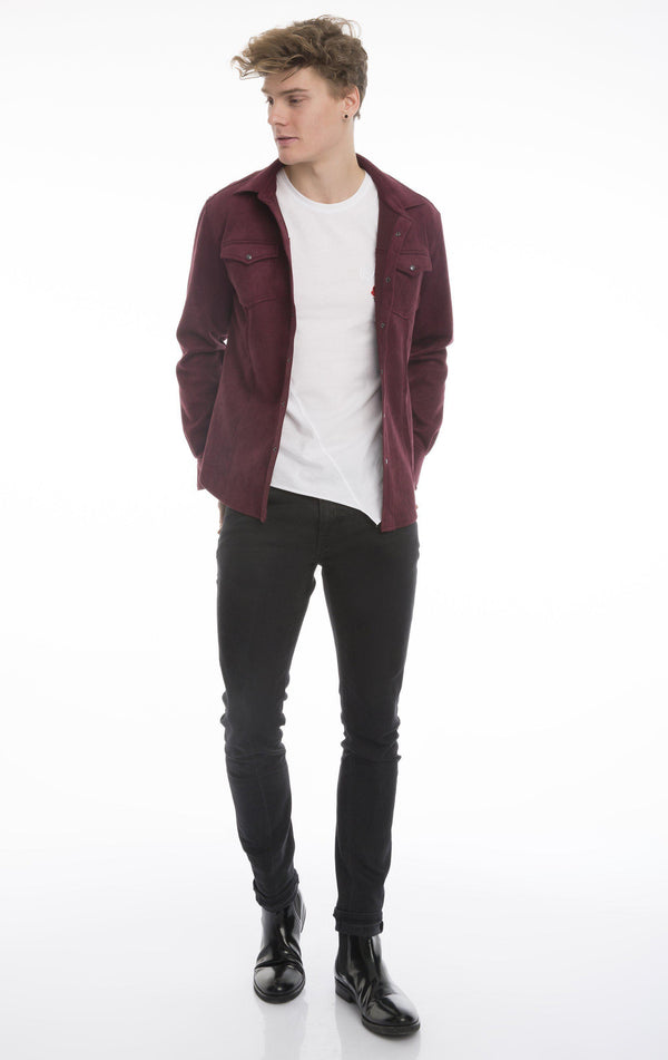 Lux Suede Finish Shirt Jacket-Shirts-Ron Tomson-WINE-S-Ron Tomson