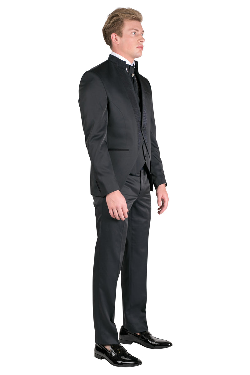 16026-Mao Collar Fitted Trim Tuxedo-Suits-Ron Tomson-BLACK-36-Ron Tomson