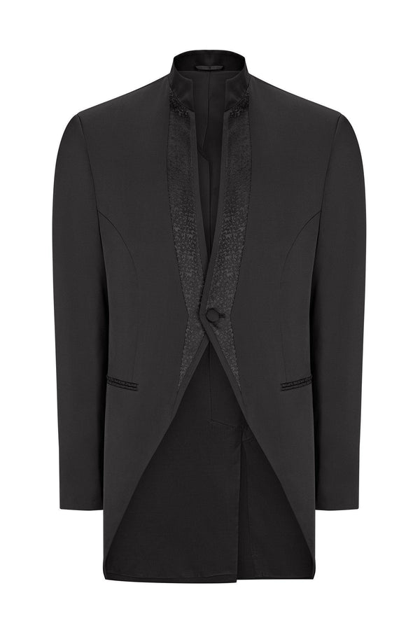 Mao Collar Fitted Trim Tuxedo - Black