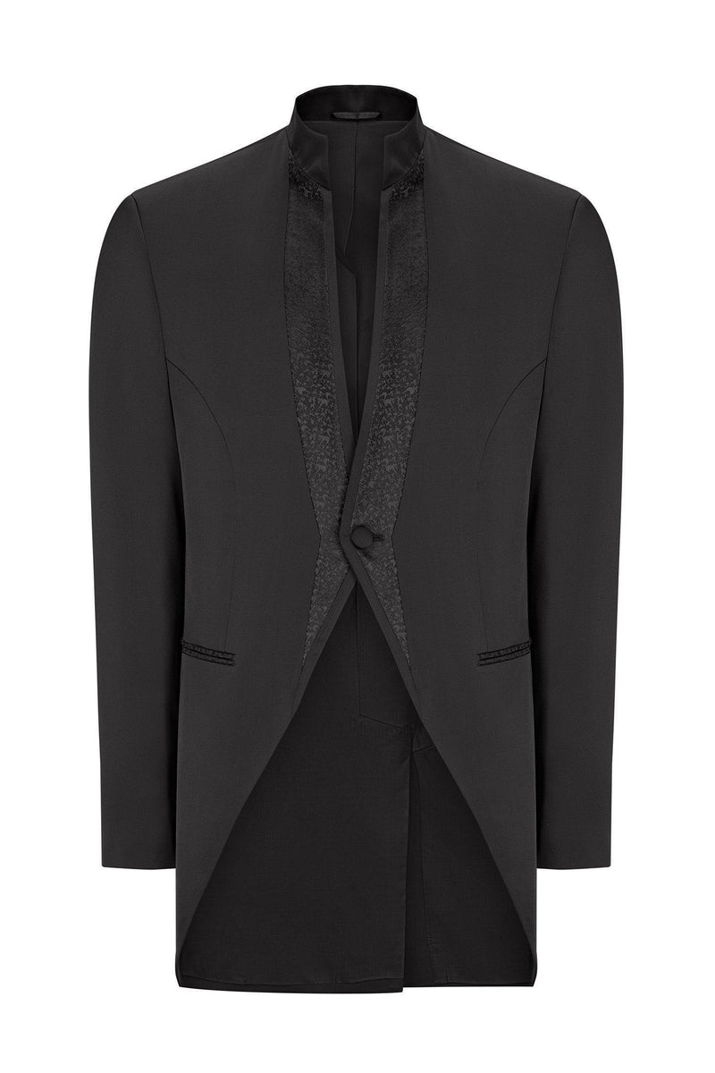 Mao Collar Fitted Trim Tuxedo - Black - Ron Tomson
