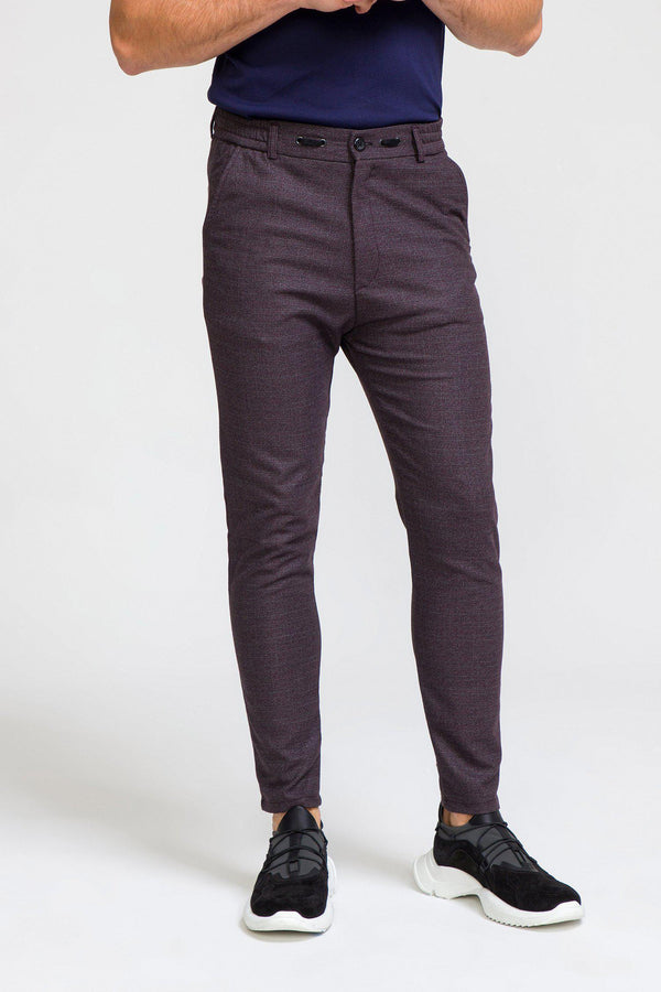 Marled Commuter Trouser - BURGUNDY - Ron Tomson