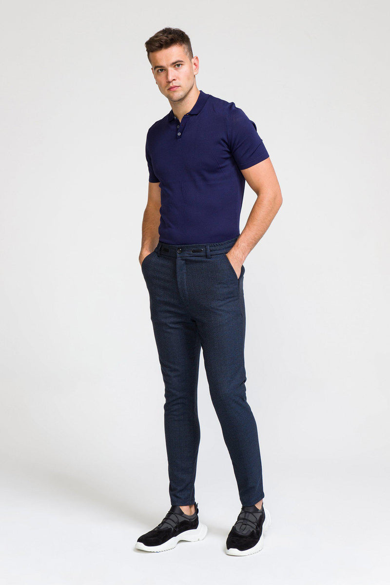 Marled Commuter Trouser - NAVY - Ron Tomson