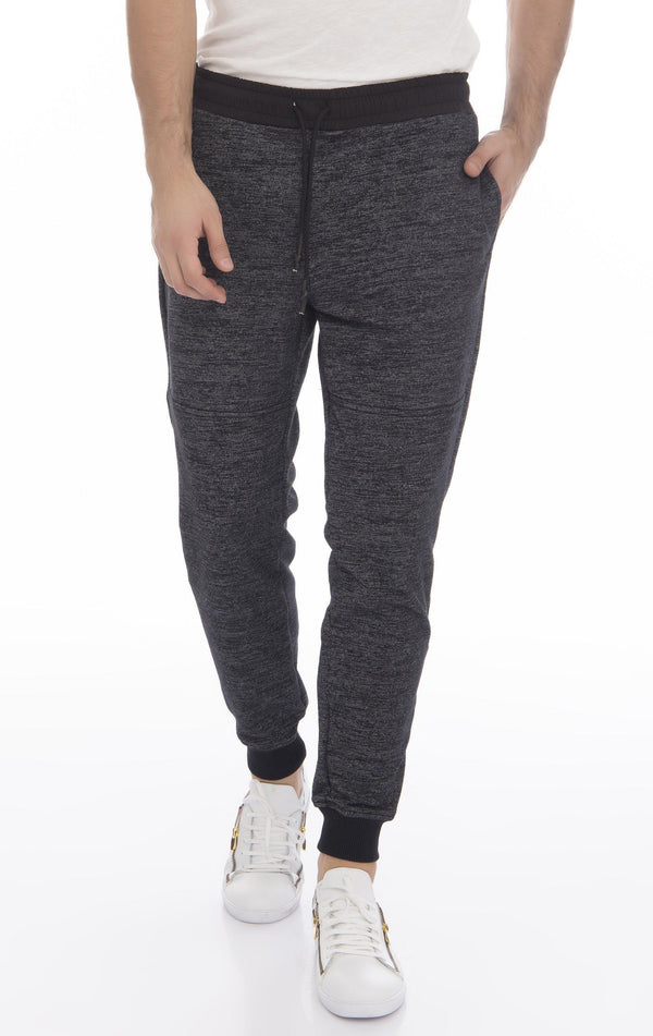 Marled Textured Joggers - Black
