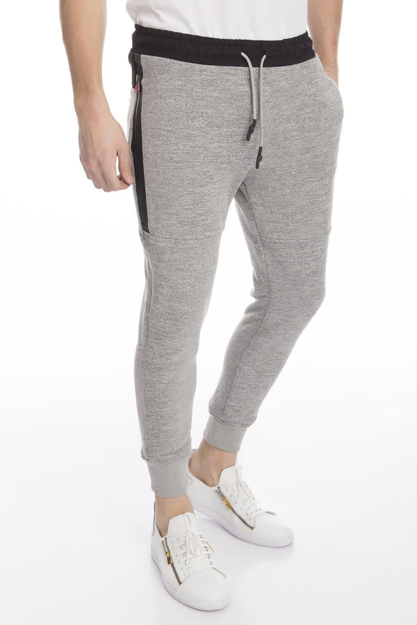 Marled Textured Jogger Pants - More Colors-Jeans-Ron Tomson-GREY-S-Ron Tomson