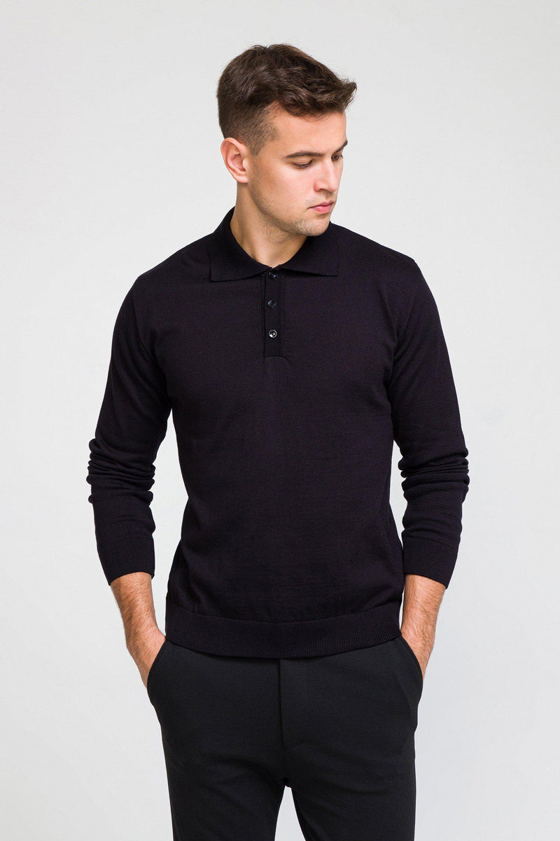 Melange Blend L/S Polo - Black - Ron Tomson