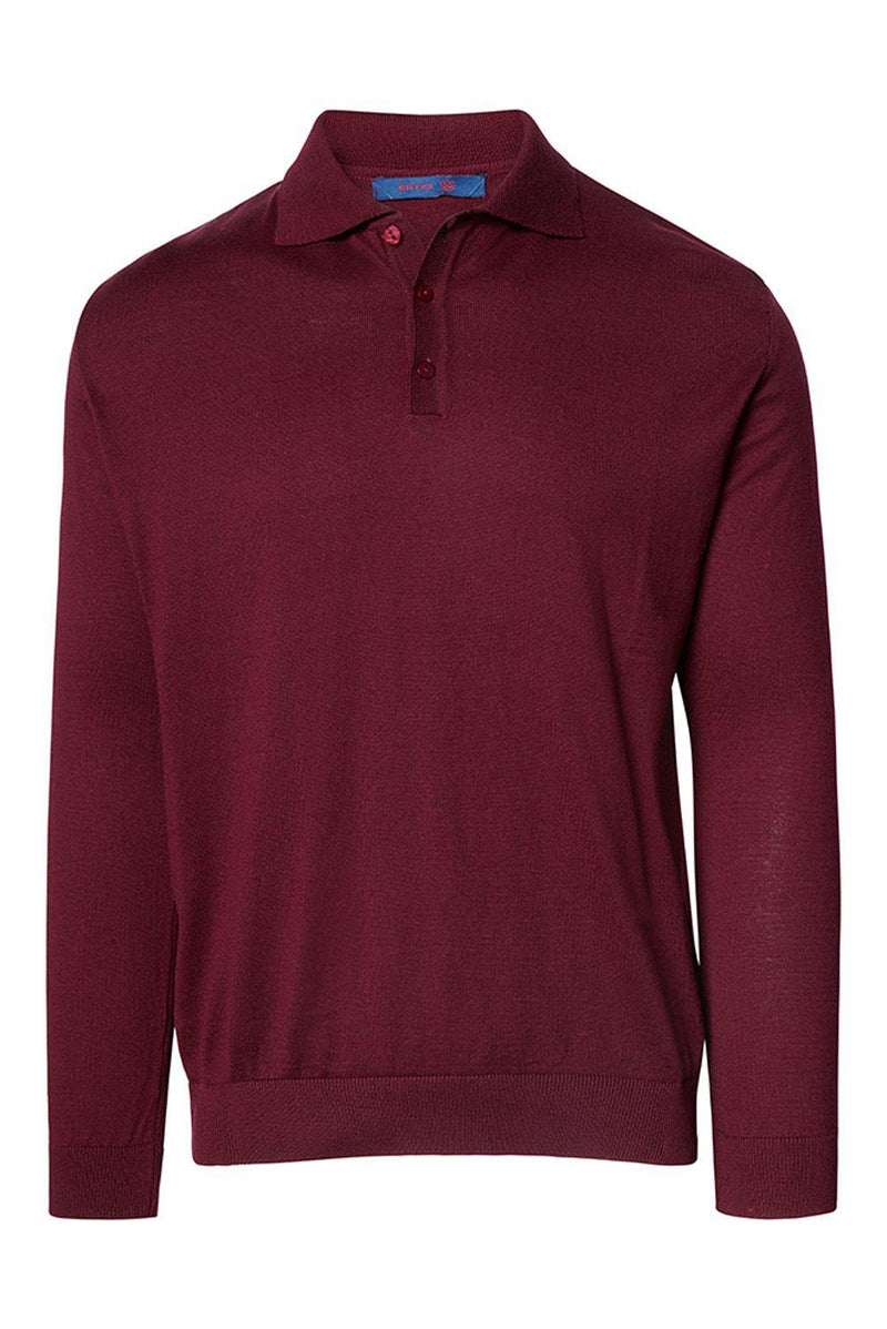 Melange Blend L/S Polo - Burgundy - Ron Tomson
