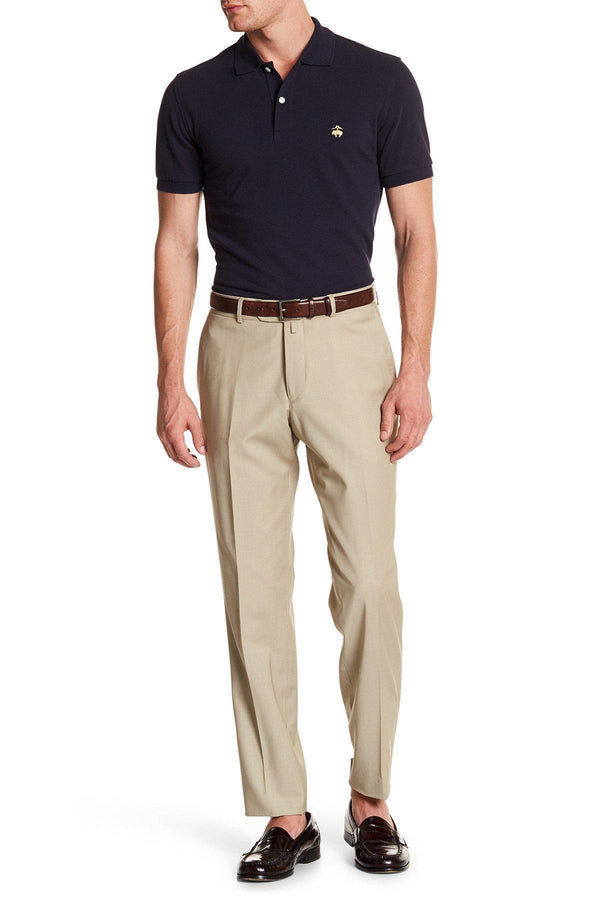 Merino Wool Dress Pants - Light Beige - Ron Tomson