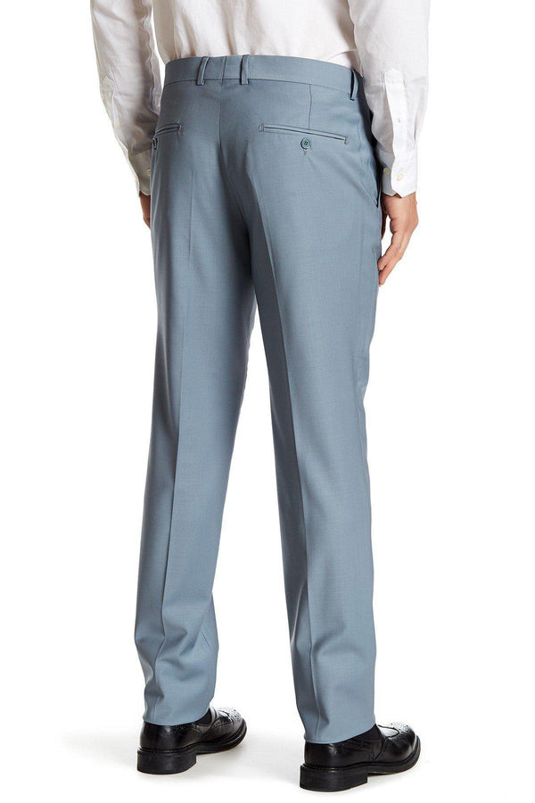 Merino Wool Dress Pants - Sky Blue - Ron Tomson