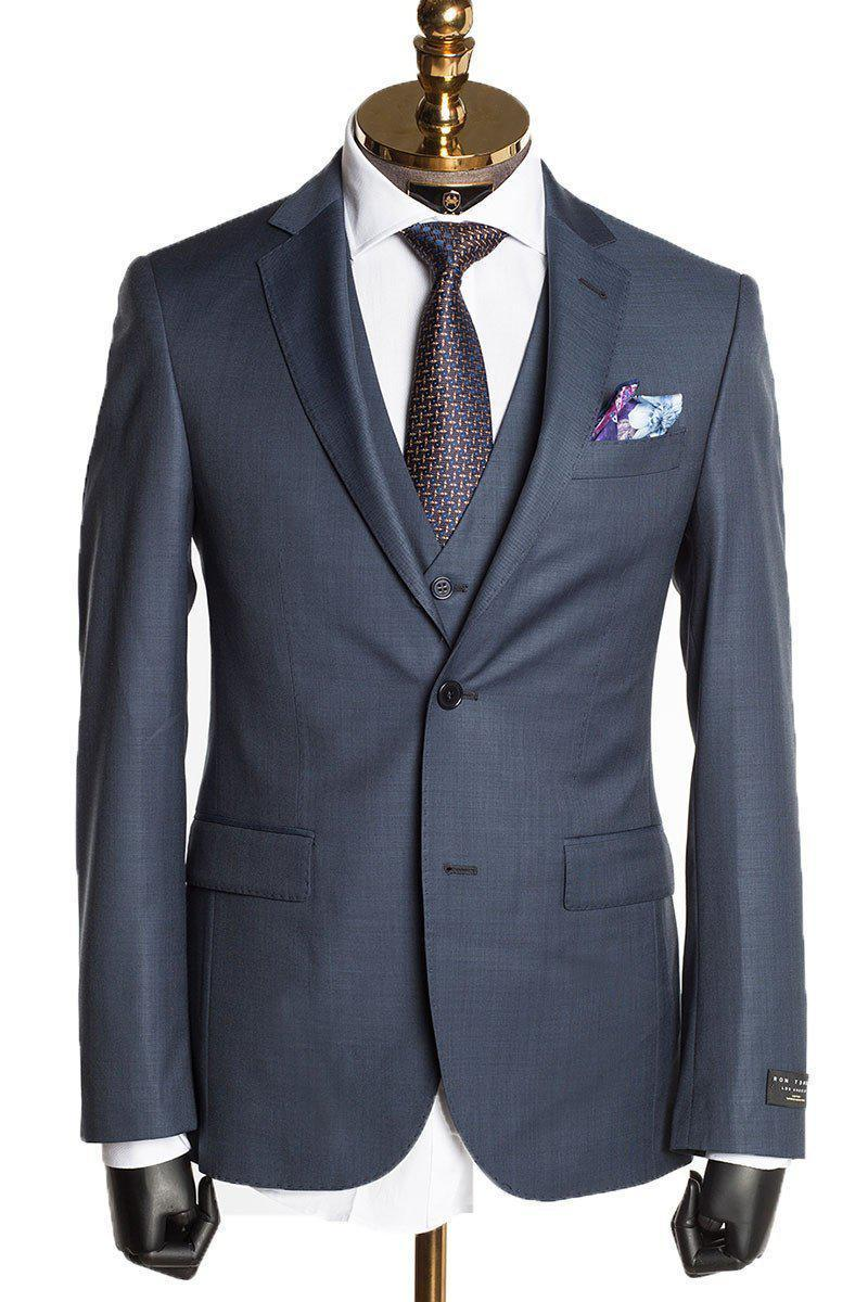 MERINO WOOL SUIT - MIDNIGHT BLUE - Ron Tomson