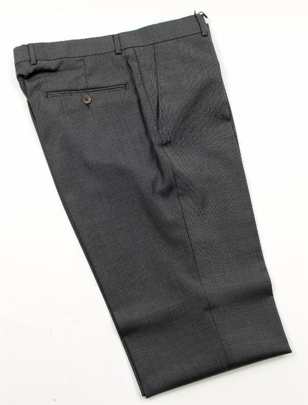 Merino Wool Tapered Dress Pants - Black Navy - Ron Tomson