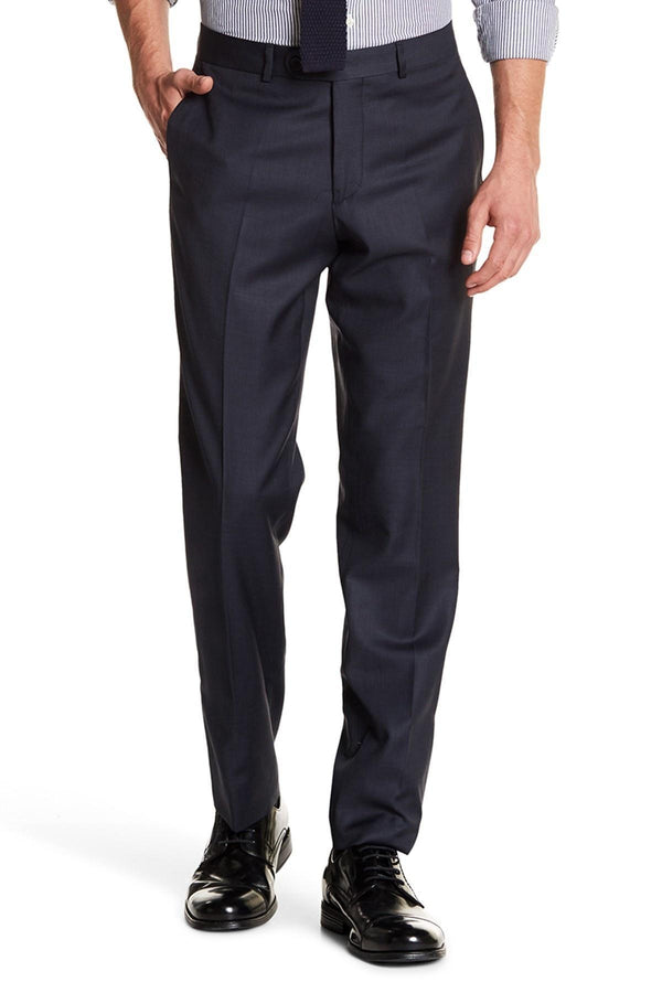 Merino Wool Tapered Dress Pants - Dark Navy - Ron Tomson