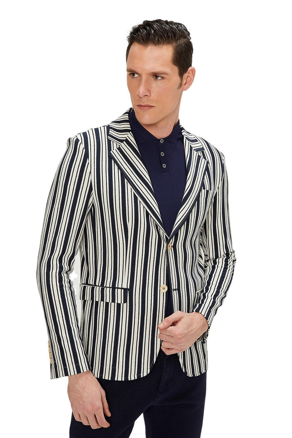 MIAMI BOLD STRIPED BLAZER - NAVY - Ron Tomson