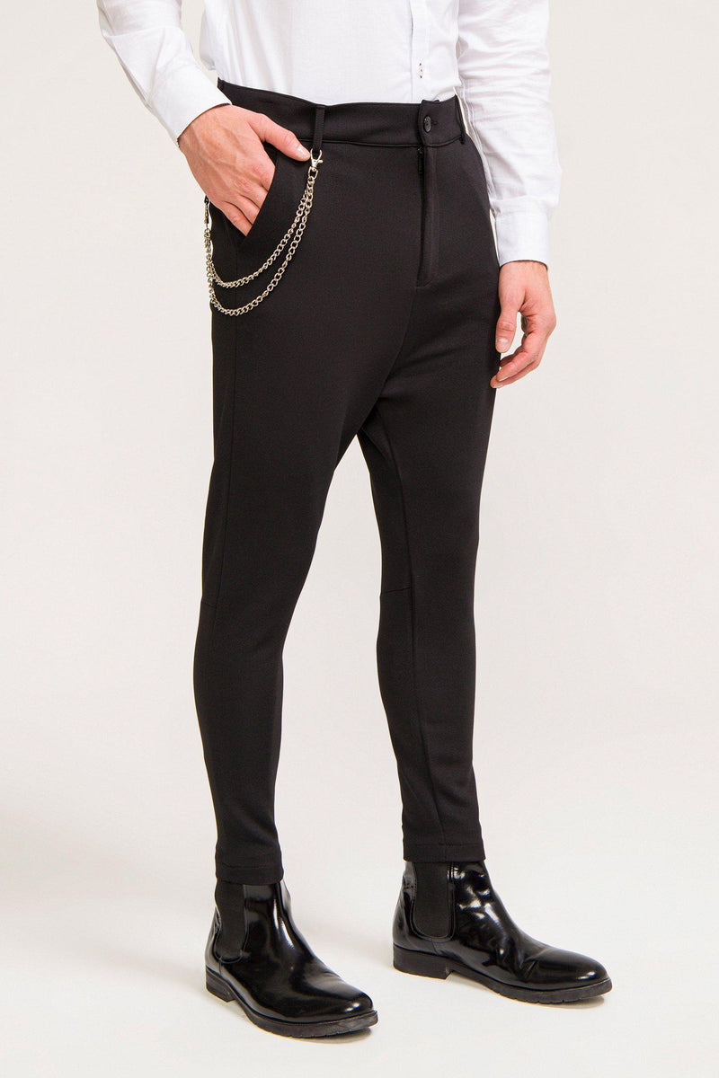 Mid Weight Chain Detail Trouser - Black - Ron Tomson