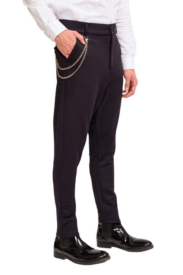 Mid Weight Chain Detail Trouser - Navy - Ron Tomson