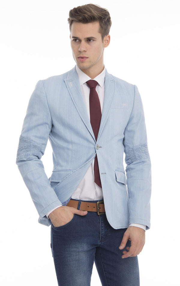 Moto Cross Peak Lapel Jacket - Blue - Ron Tomson