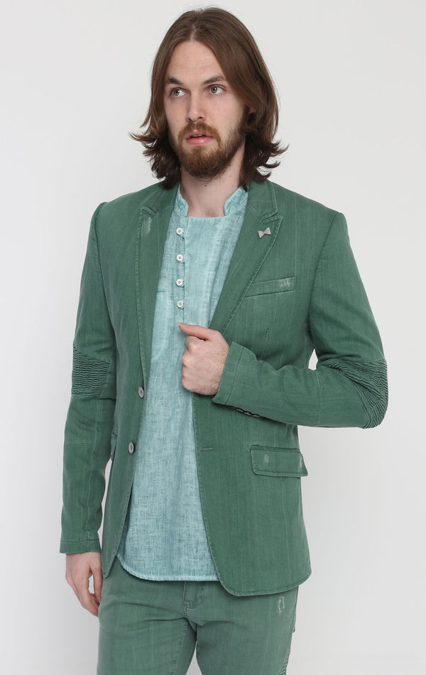 Moto Cross Peak Lapel Jacket - Green