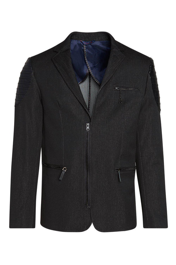 Moto Cross Shoulder Sports Coat - Black