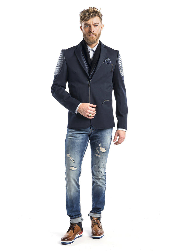 Moto Cross Shoulder Sports Coat - Navy