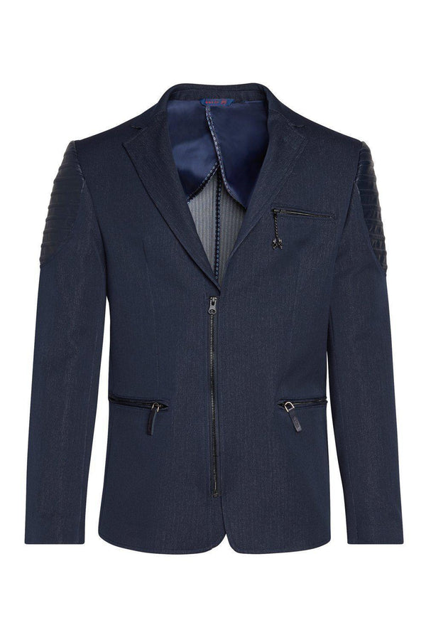 Moto Cross Shoulder Sports Coat - Navy - Ron Tomson