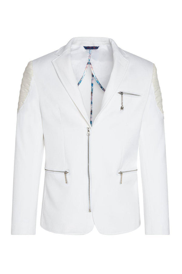 Moto Cross Shoulder Sports Coat - White