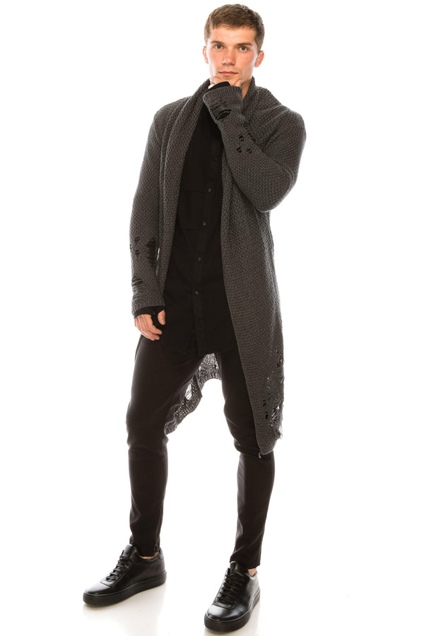 Mr Grunge Cardigan  - Anthracite