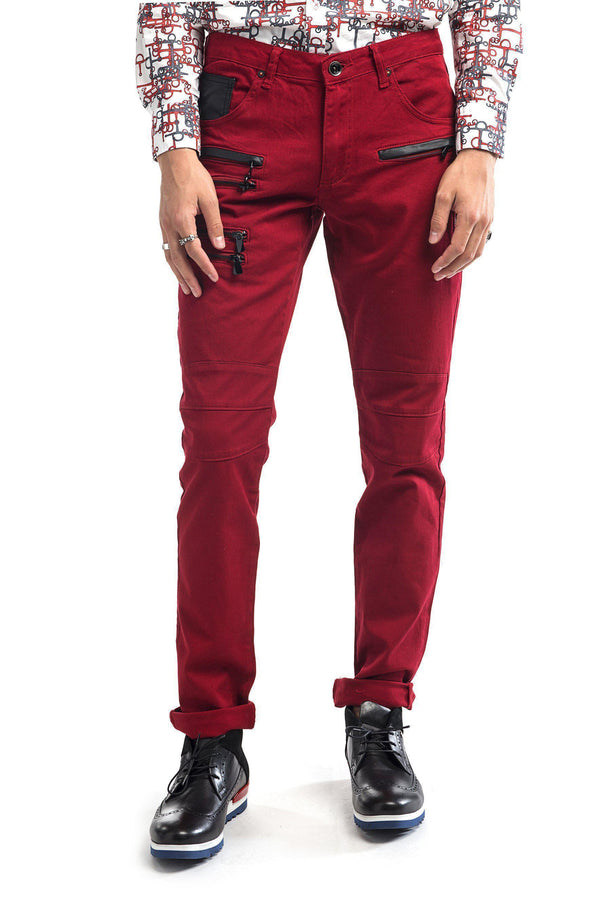 Multi Zipper Moto Jeans - More Colors-Jeans-Ron Tomson-RED BLACK-29-Ron Tomson