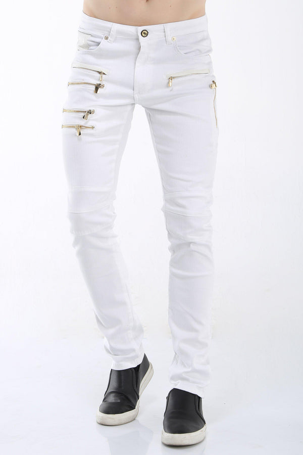 Multi Zipper Moto Jeans - White Gold