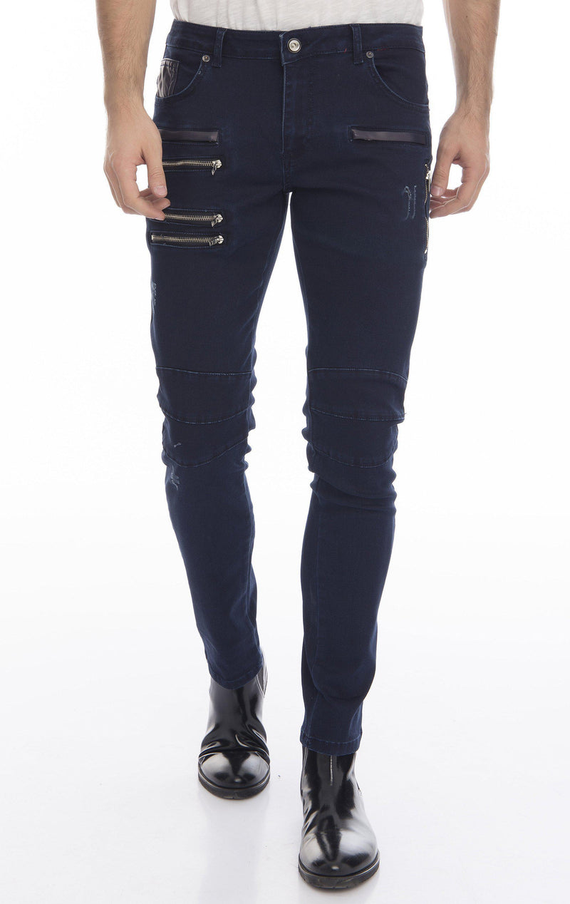 Multi Zipper Moto Tapered Jeans - Navy Silver - Ron Tomson
