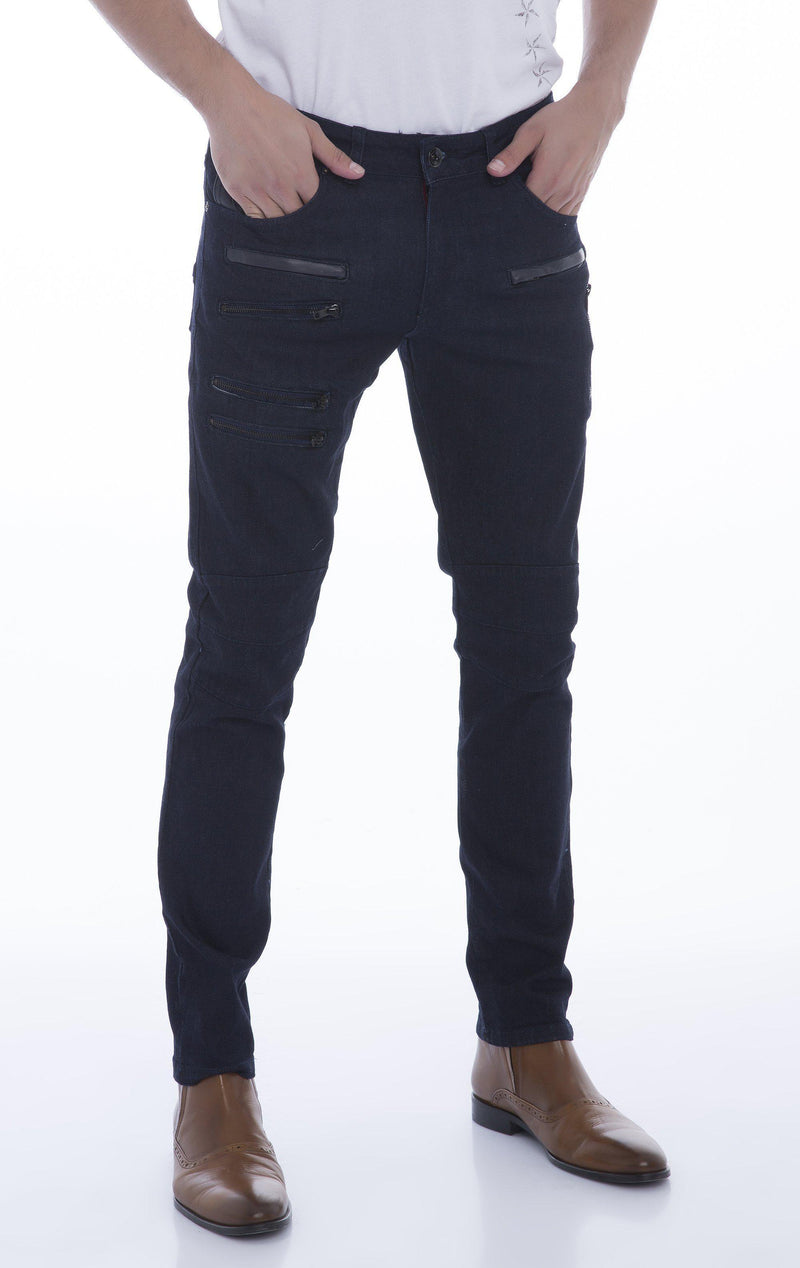 Multi-Zipper Trim Stretchy Jeans-Jeans-Ron Tomson-NAVY-29-Ron Tomson