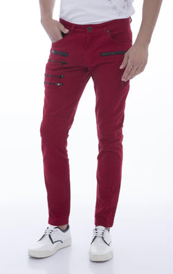 Multi-Zipper Trim Stretchy Jeans-Jeans-Ron Tomson-RED-29-Ron Tomson