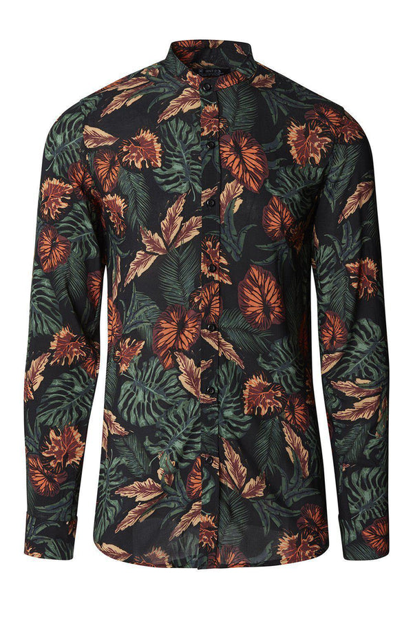 Nature Long Sleeve Shirt - Black Leaf - Ron Tomson