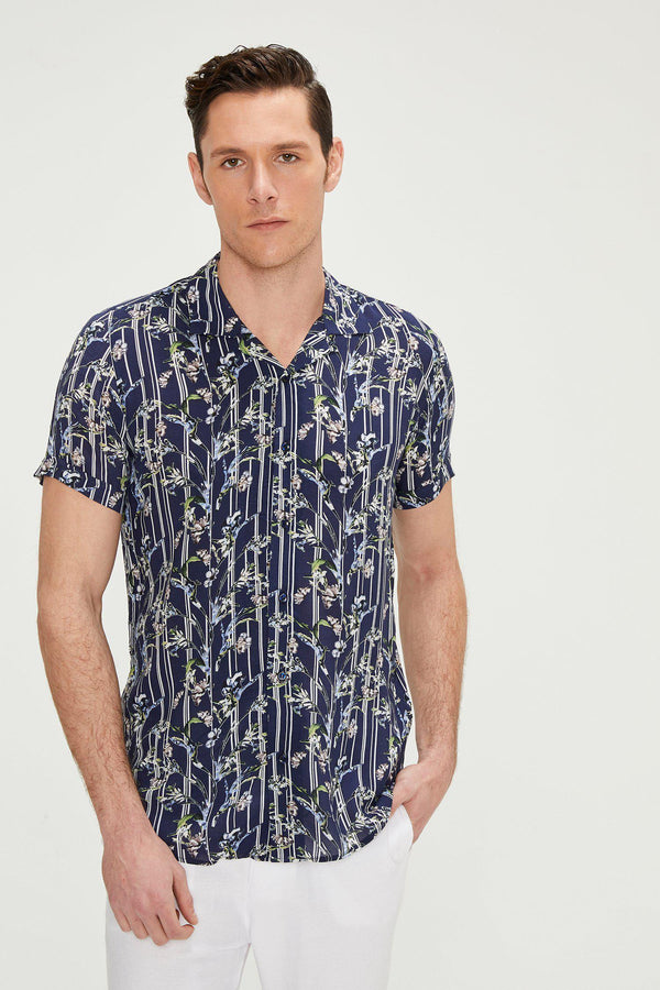 Nature Short Sleeve Shirt - Navy Floral - Ron Tomson