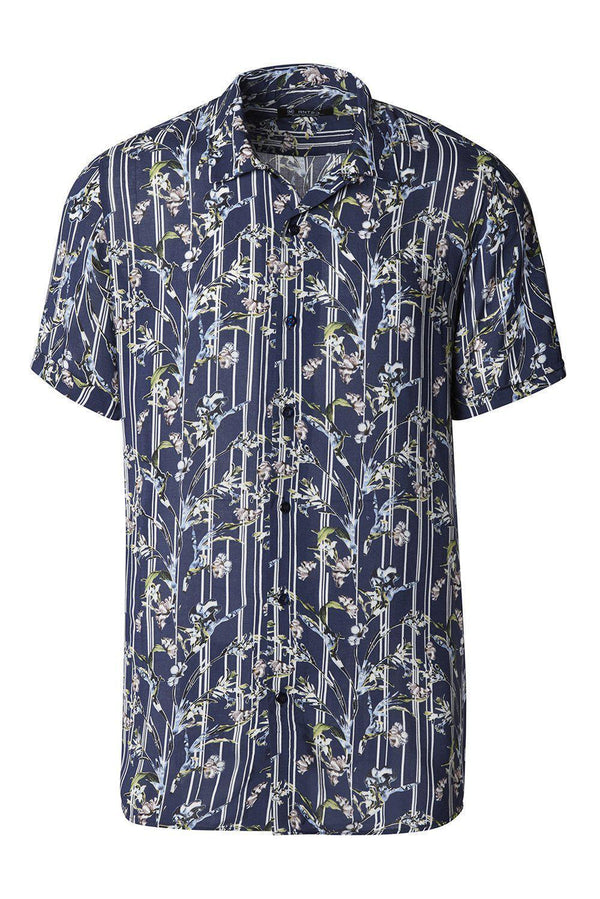 Nature Short Sleeve Shirt - Navy Floral