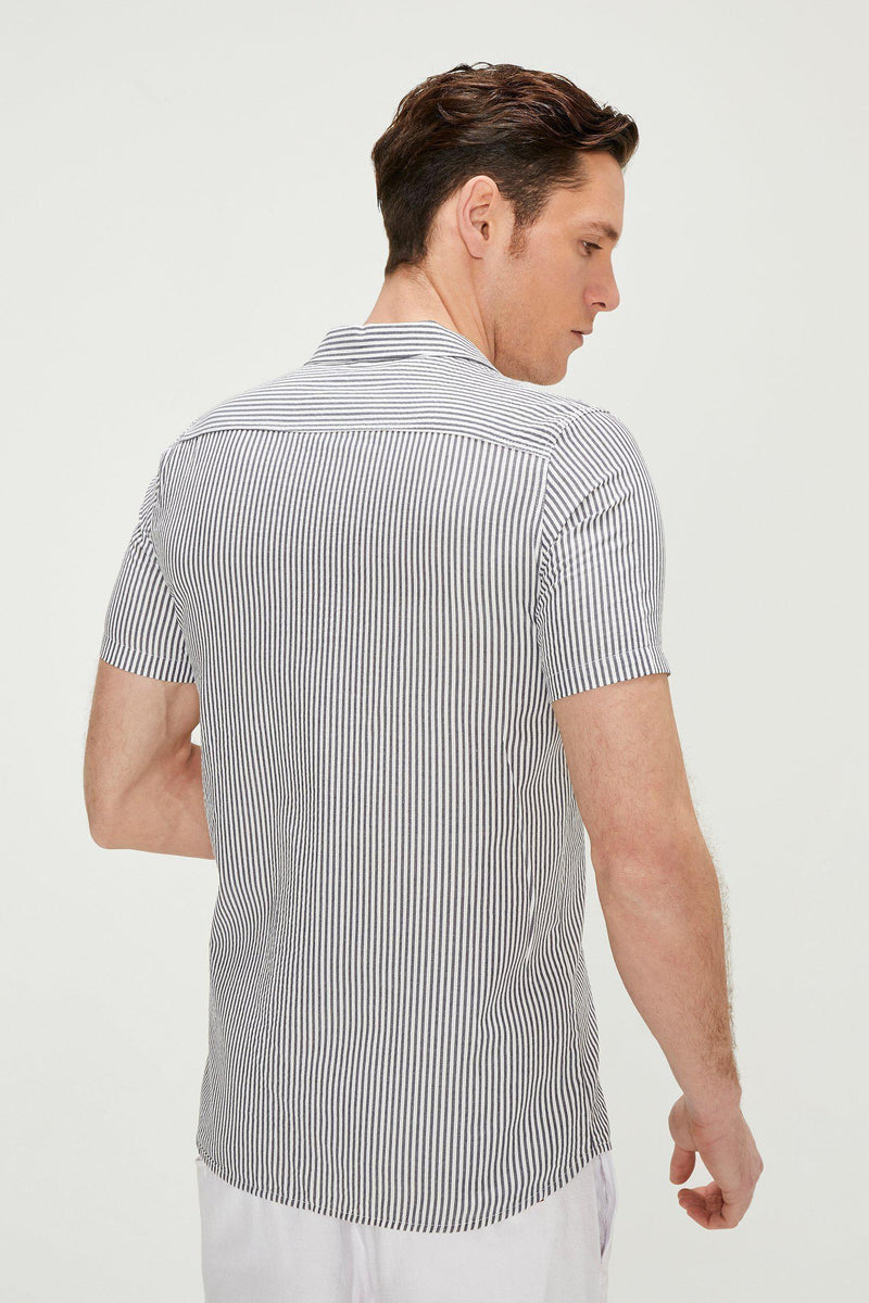 NAVY STRIPE CAMP COLLAR S SHIRT - Ron Tomson