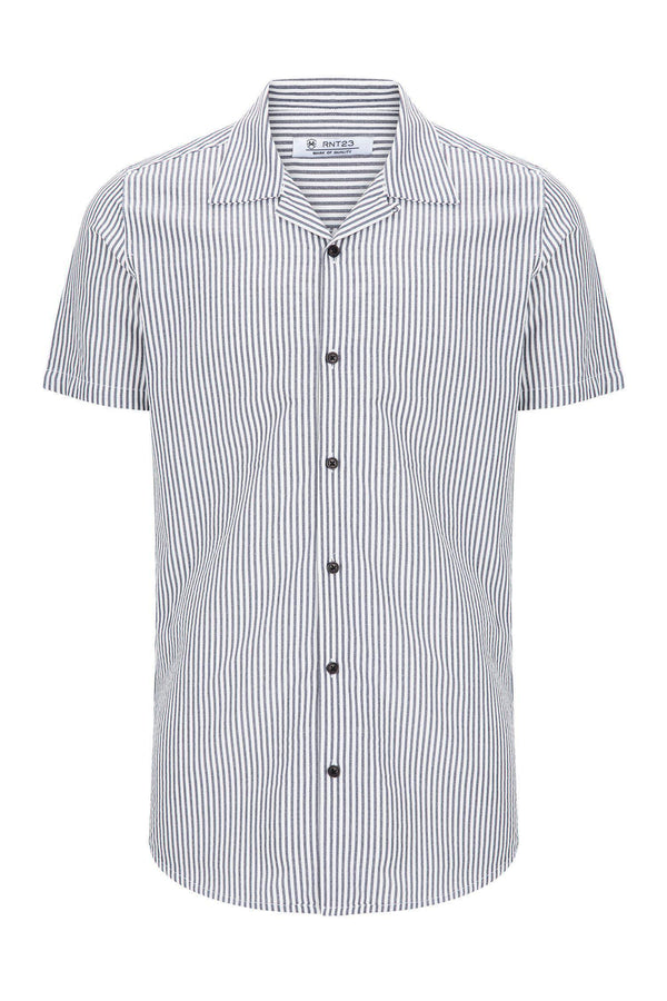 NAVY STRIPE CAMP COLLAR S SHIRT