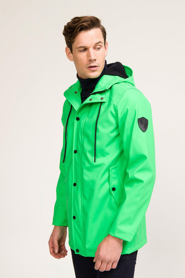 Rubberized Stockholm Raincoat - Neon GREEN - Ron Tomson