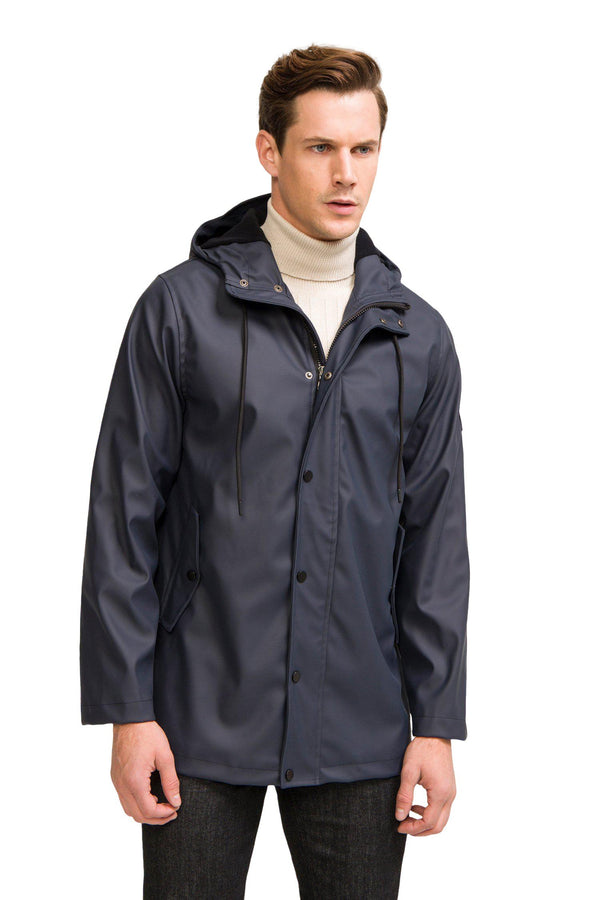 Rubberized Stockholm Raincoat  - Navy - Ron Tomson