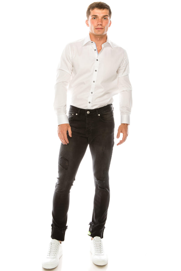 NEON RIVETED SKINNY DENIM REFLECTORS - DARK GREY - Ron Tomson