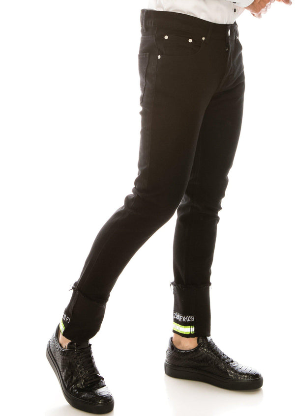 NEON RIVETED SKINNY DENIM REFLECTORS - JET BLACK - Ron Tomson