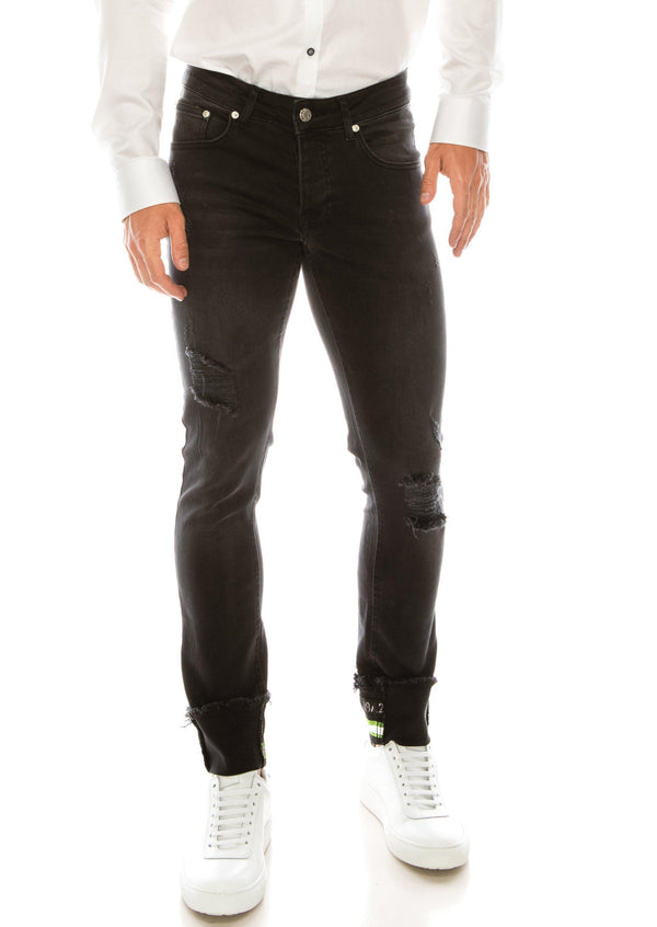 NEON RIVETED SKINNY DENIM REFLECTORS - WASHED BLACK - Ron Tomson
