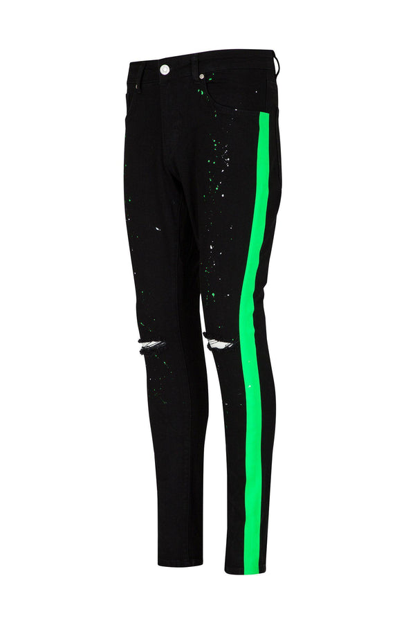 Neon Striped Splattered Denim - Black Green