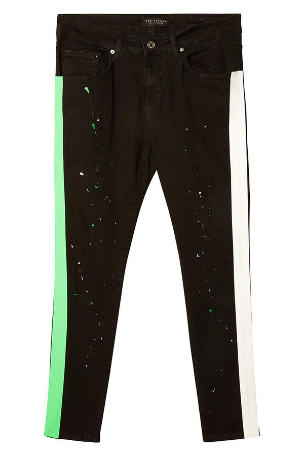 Neon Striped Splattered Denim - Black Green New - Ron Tomson