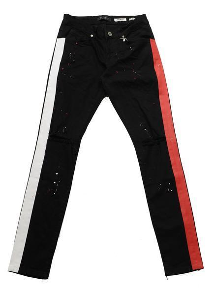 Neon Striped Splattered Denim - Black Red