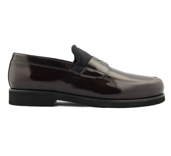 Neoprene Contrast Sole Loafer - Black Burgundy - Ron Tomson