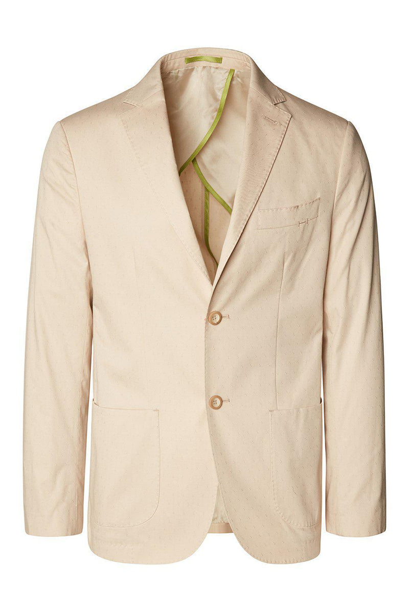 Notch Lapel Slim Fit Cotton Jacket - Beige - Ron Tomson