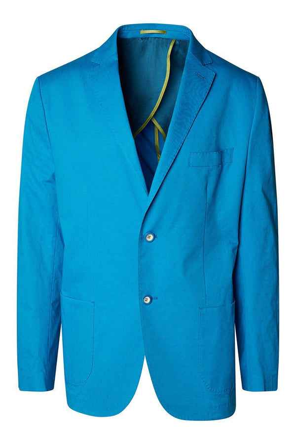 Notch Lapel Slim Fit Cotton Jacket - Light Blue - Ron Tomson