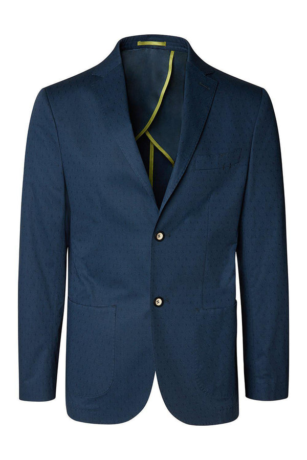 Notch Lapel Slim Fit Cotton Jacket - Navy - Ron Tomson