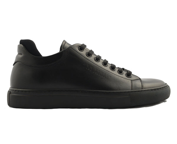 On Time All Leather Sneakers - BLACK BLACK